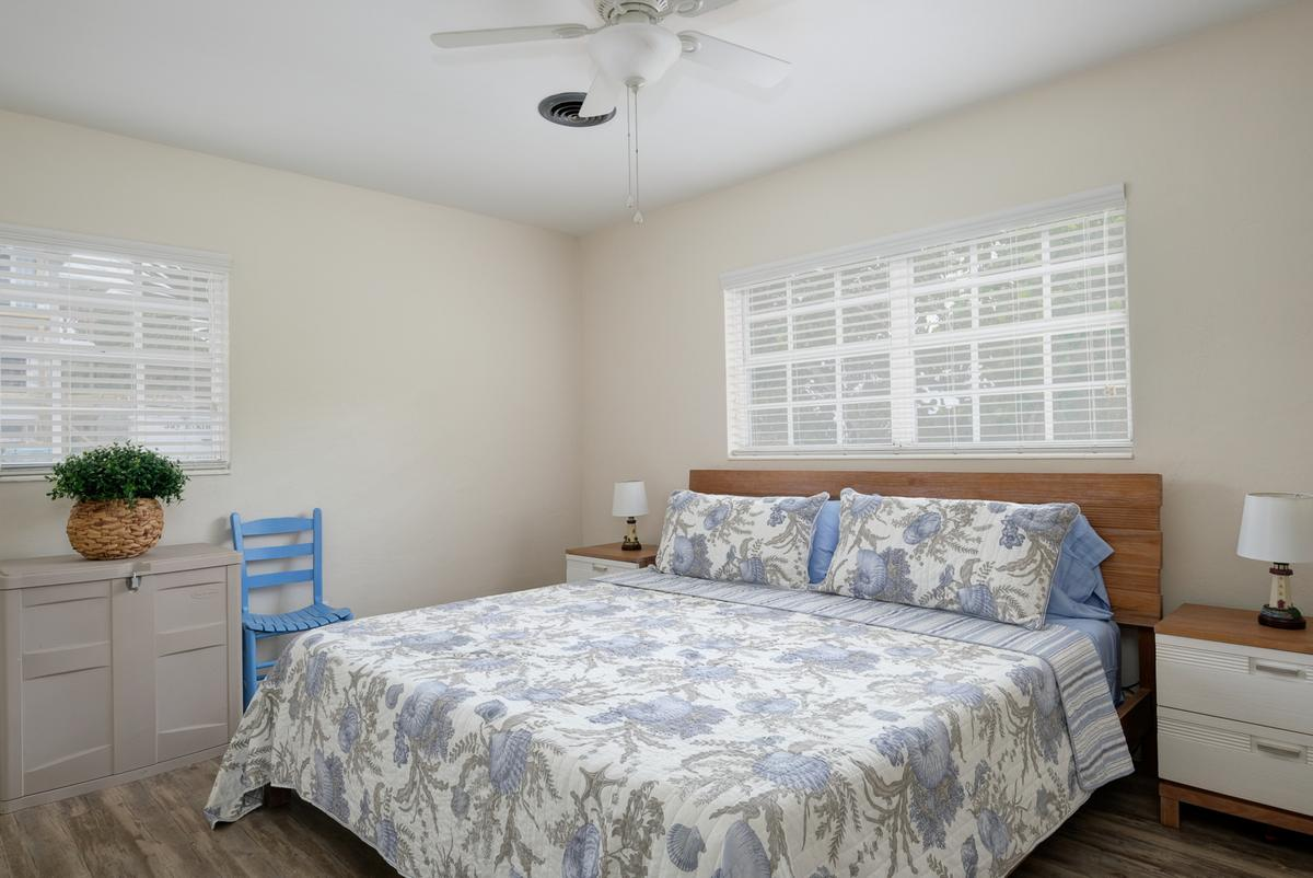 Sleep in Comfort in a King Bed with Ceiling Fan
