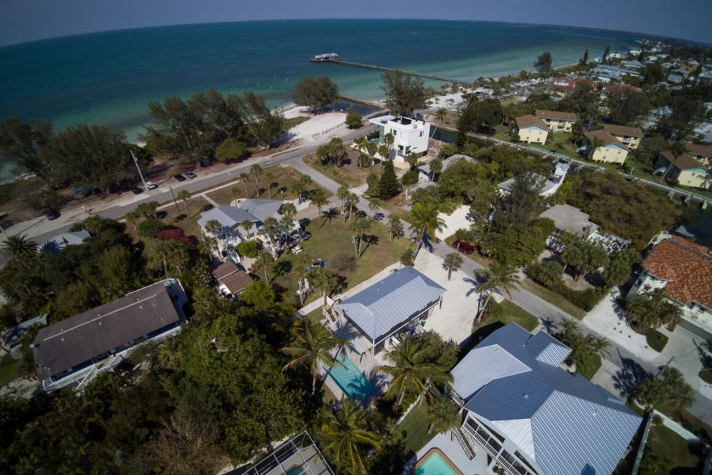 Aerial View from Home to Bay and Shopping on Pine Street