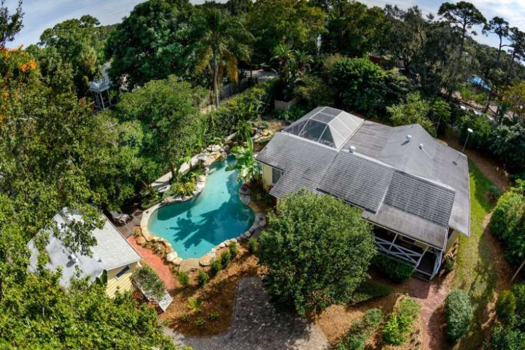 Aerial View of Home, Pool and Guest House