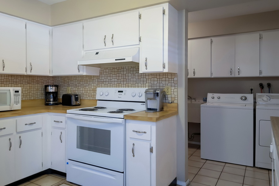 Kitchen and Laundry Room with Lots of Amenities.