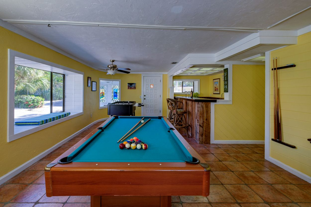 Billiards and Foosball with TV for Endless Family Fun