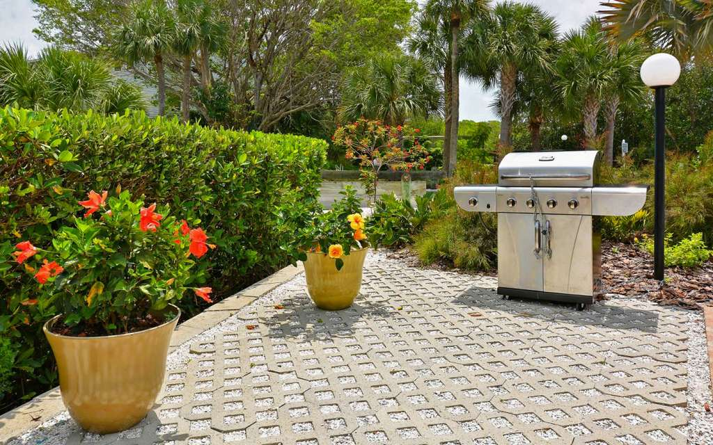 Gas Grill for Community Use By Pool Patio